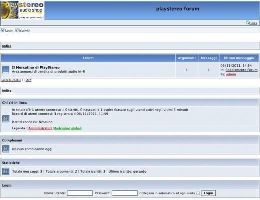 ANNUNCIO Forum - Il Mercatino di PlayStereo