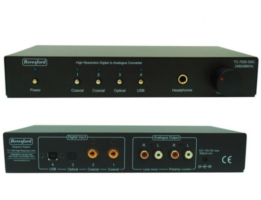 Beresford TC-7520 Stereo Audio DAC Converter USB/COAX/TOSLINK