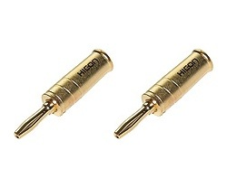 HICON Gold metal Banana plugs screw-on connectors (Set of 4)